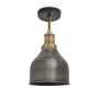 Industville Brooklyn Cone Flush Mount - Pewter - Brass Holder - 7 Inch