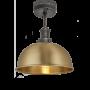 Industville Brooklyn Dome Flush Mount - Brass - Pewter Holder - 8 Inch