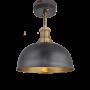 Industville Brooklyn Dome Flush Mount - Pewter & Brass - Brass Holder - 8 Inch
