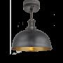 Industville Brooklyn Dome Flush Mount - Pewter & Brass - Pewter Holder - 8 Inch