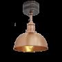 Industville Brooklyn Dome Flush Mount - Copper - Copper Holder - 8 Inch