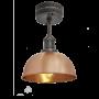 Industville Brooklyn Dome Flush Mount - Copper - Pewter Holder - 8 Inch