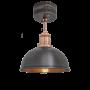 Industville Brooklyn Dome Flush Mount - Pewter & Copper - Copper Holder - 8 Inch