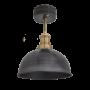 Industville Brooklyn Dome Flush Mount - Pewter - Brass Holder - 8 Inch