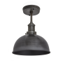 Industville Brooklyn Dome Flush Mount - Pewter - Pewter Holder - 8 Inch