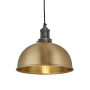 Industville Brooklyn Dome Pendant - Brass - Pewter Holder - 8 Inch