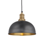Industville Brooklyn Dome Pendant - Pewter & Brass - Brass Holder - 8 Inch