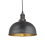 Industville Brooklyn Dome Pendant - Pewter & Brass - Pewter Holder - 8 Inch