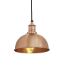 Industville Brooklyn Dome Pendant - Copper - Copper Holder - 8 Inch