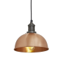 Industville Brooklyn Dome Pendant - Copper - Pewter Holder - 8 Inch
