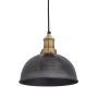 Industville Brooklyn Dome Pendant - Pewter - Brass Holder - 8 Inch