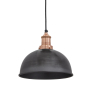 Industville Brooklyn Dome Pendant - Pewter - Copper Holder - 8 Inch