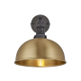 Industville Brooklyn Dome Wall Light - Brass - Pewter Holder - 8 Inch