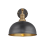 Industville Brooklyn Dome Wall Light - Pewter & Brass - Brass Holder - 8 Inch