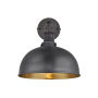 Industville Brooklyn Dome Wall Light - Pewter & Brass - Pewter Holder - 8 Inch
