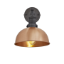 Industville Brooklyn Dome Wall Light - Copper - Pewter Holder - 8 Inch