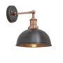 Industville Brooklyn Dome Wall Light - Pewter & Copper - Copper Holder - 8 Inch