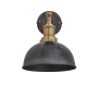 Industville Brooklyn Dome Wall Light - Pewter - Brass Holder - 8 Inch