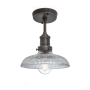 Industville Brooklyn Glass Dome Flush Mount - Pewter Holder - 8 Inch