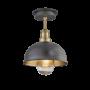 Industville Brooklyn Outdoor & Bathroom Dome Flush Mount - Pewter & Brass - Brass Holder - 8 Inch