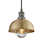 Industville Brooklyn Outdoor & Bathroom Dome Pendant - Brass - Pewter Holder - 8 Inch