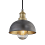 Industville Brooklyn Outdoor & Bathroom Dome Pendant - Pewter & Brass - Brass Holder - 8 Inch