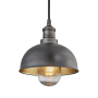 Industville Brooklyn Outdoor & Bathroom Dome Pendant - Pewter & Brass - Pewter Holder - 8 Inch