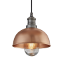 Industville Brooklyn Outdoor & Bathroom Dome Pendant - Copper - Pewter Holder - 8 Inch