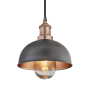 Industville Brooklyn Outdoor & Bathroom Dome Pendant - Pewter & Copper - Copper Holder - 8 Inch