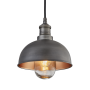 Industville Brooklyn Outdoor & Bathroom Dome Pendant - Pewter & Copper - Pewter Holder - 8 Inch