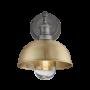 Industville Brooklyn Outdoor & Bathroom Dome Wall Light - Brass - Pewter Holder - 8 Inch