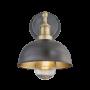 Industville Brooklyn Outdoor & Bathroom Dome Wall Light - Pewter & Brass - Brass Holder - 8 Inch