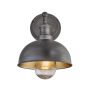 Industville Brooklyn Outdoor & Bathroom Dome Wall Light - Pewter & Brass - Pewter Holder - 8 Inch