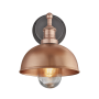 Industville Brooklyn Outdoor & Bathroom Dome Wall Light - Copper - Copper Holder - 8 Inch
