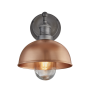 Industville Brooklyn Outdoor & Bathroom Dome Wall Light - Copper - Pewter Holder - 8 Inch