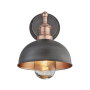 Industville Brooklyn Outdoor & Bathroom Dome Wall Light - Pewter & Copper - Copper Holder - 8 Inch