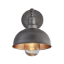 Industville Brooklyn Outdoor & Bathroom Dome Wall Light - Pewter & Copper - Pewter Holder - 8 Inch