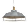 Industville Brooklyn Step Pendant - Light Pewter - Brass Holder - Cage - 16 Inch