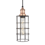 Industville Brooklyn Cylinder Wire Cage Pendant  - Pewter Cage - Copper Holder