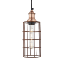 Industville Brooklyn Cylinder Wire Cage Pendant - Rusty Cage - Copper Holder