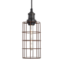 Industville Brooklyn Cylinder Wire Cage Pendant - Rusty Cage - Pewter Holder