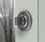 FINESSE PEWTER BATHROOM THUMB TURN & RELEASE ON DOOR