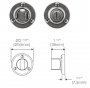 FINESSE PEWTER BATHROOM THUMB TURN & RELEASE DIMENSIONS