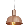 Industville Sleek Dome Pendant - Copper - Copper Holder - 8 Inch