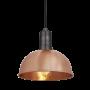 Industville Sleek Dome Pendant - Copper - Pewter Holder - 8 Inch