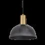 Industville Sleek Dome Pendant - Pewter - Brass Holder - 8 Inch