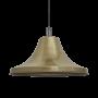 Industville Sleek Giant Bell Pendant - Brass - Pewter Holder - 20 Inch