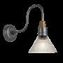Industville Swan Neck Glass Funnel Wall Light - Pewter - 7 Inch