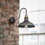 Industville Swan Neck Round Wall Light - Pewter - 11 Inch
