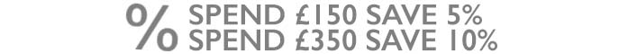Spend £150 save 5% spend £350 save 10%